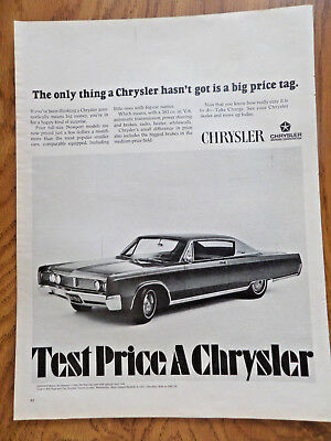 1967 Chrysler Newport 2 Dr Hardtop Ad Only thing hasn't got is a big Price Tag