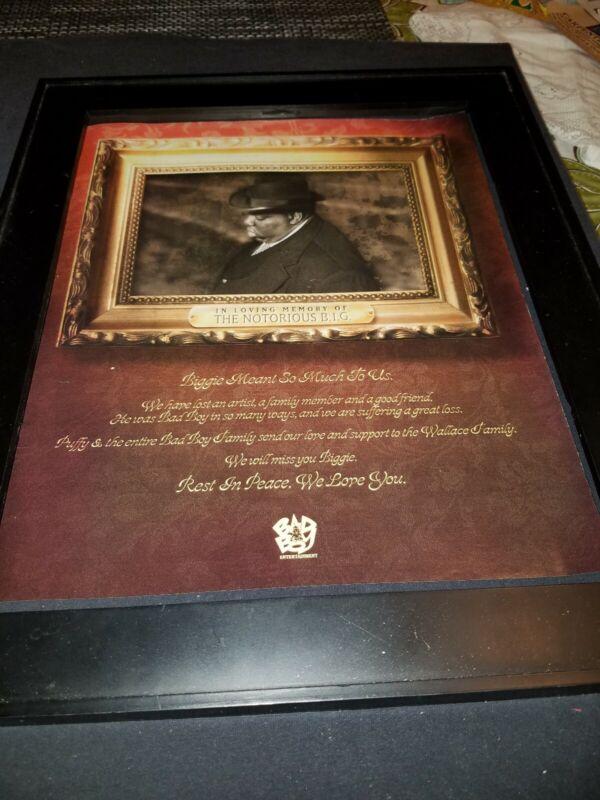 Notorious B.I.G. Rare Original Bad Boy Memorial Promo Poster Ad Framed!