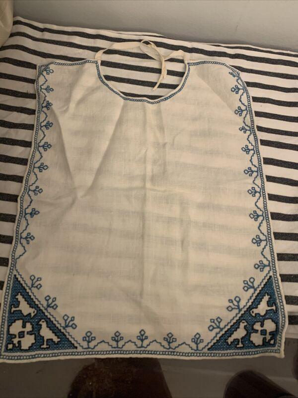 RARE Vintage Baby Bib Blue Dove Boho Embroidered Linen? UNUSED