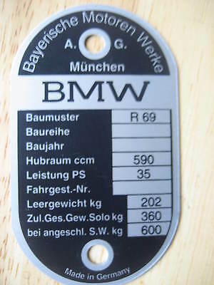 VINTAGE BMW FRAME I.D. TAG FOR R69