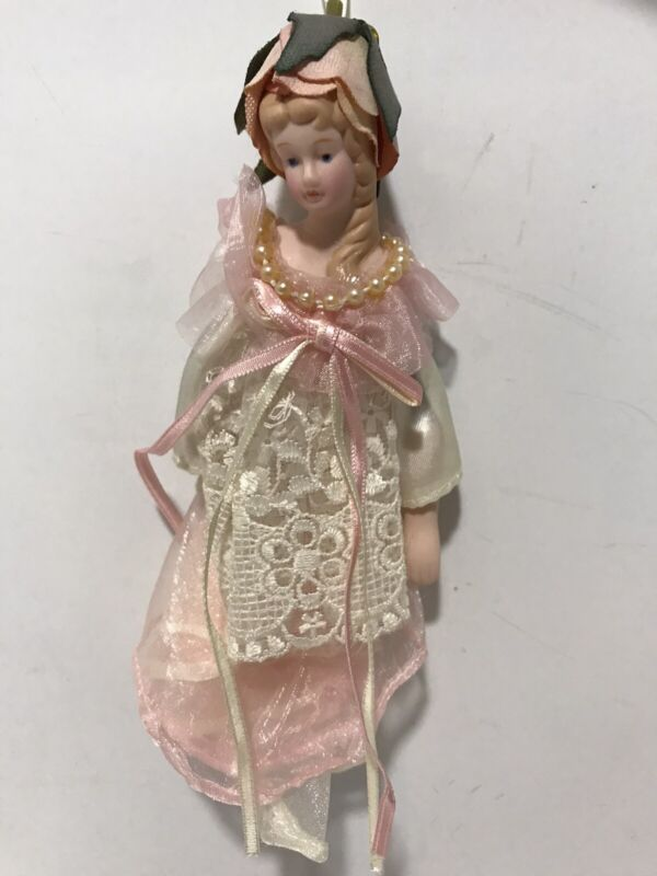 Vintage Porcelain Victorian Doll Pink Lace Rose Head Christmas Ornament