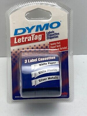 Dymo Letratag Refill Labels 3 Pack. White Paper White Plastic Silver Metallic