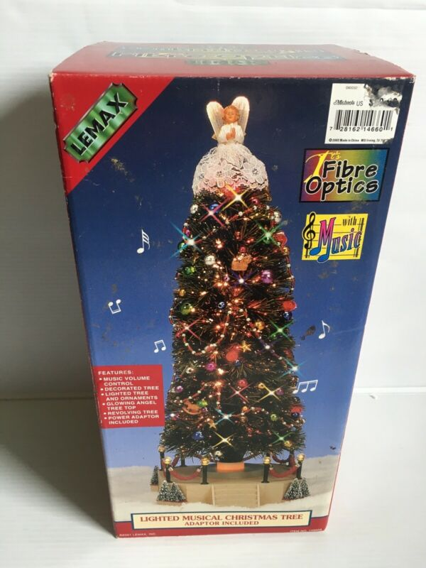Lemax FIBER OPTIC Lighted Musical Revolving Christmas Tree With Angel