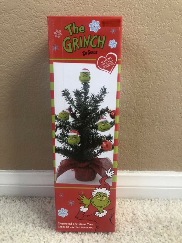 """The Grinch who Stole Christmas 16"""" Decorated DR Seuss Santa Ornament Tree 2020"""