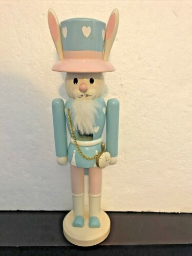 "Nutcracker Easter Bunny 14.5"" Pocket Watch & Chain Pastel Pink & Blue Hearts"