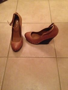 ALDO  leather studded wedges Size 10, camel colour