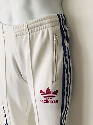 Adidas Firebird Tracksuit Bottoms Sports Pants S 10 36 Joggers White Purple Orig