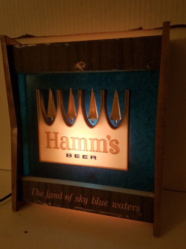 VINTAGE HAMMS BEER LIGHTED SIGN THE LAND OF SKY BLUE WATERS (TESTED AND WORKING)