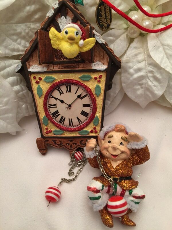 Katherine's Collection Christmas Ornament Elf Hanging From Cuckoo Clock 10""