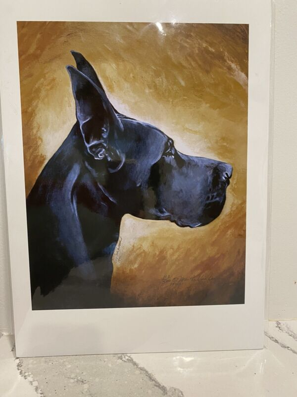 Great Dane Head Ltd Ed 11x14 Signed Print By Van Loan