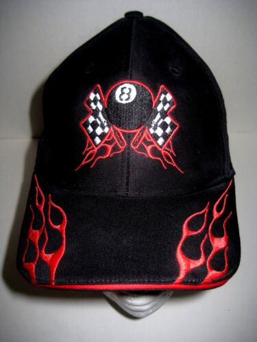 Baseball Style Cap Hat 8 Ball Checkered Flags Flames Black & Red Size Small