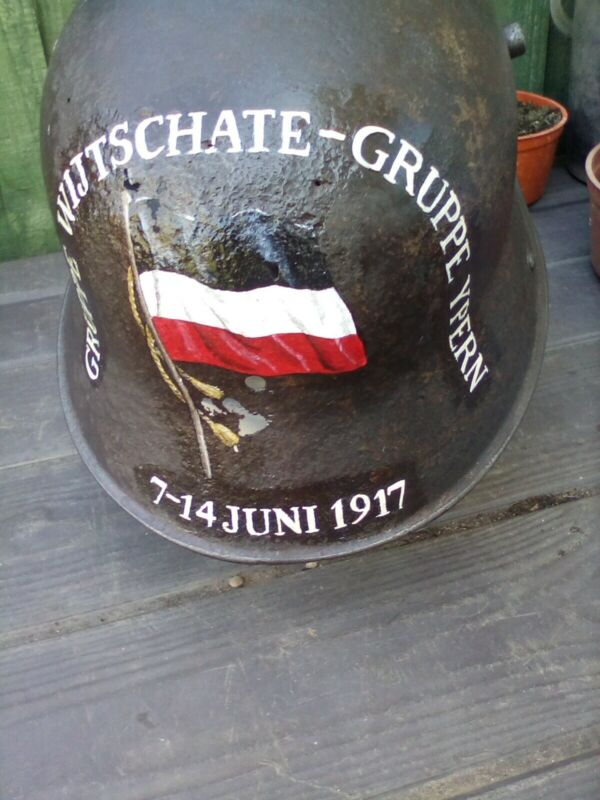 WW1 German relic Helmet discovered in Flanders with recent hand painted design.