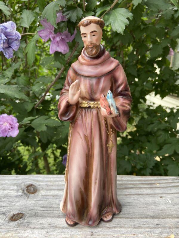 LEFTON Saint Francis Of Assisi Figurine Friar Monk w Birds Religious Statue #614