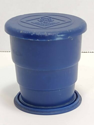 Vintage Blue Wecolite Collapsible Cub Scouts Boy Scouts BSA Plastic Camping Cup
