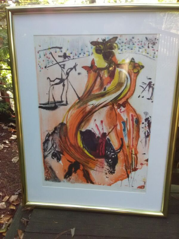 "Salvador Dali ""Butterfly Bullfighter"" Lithograph Print, Signed & Numbered,84/250"