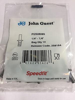 John Guest Pi 250808s Tube To Hose Stem 14 Stem Od 14 Hose Id Bags Of 10