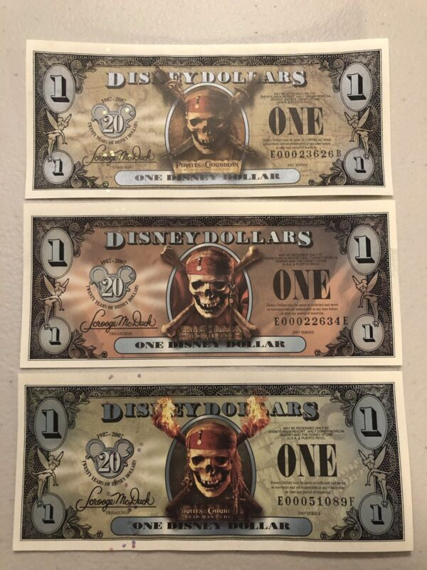 2007 Disney Dollars $1 Pirates of the Caribbean Set 3 B E F Uncirculated Mint