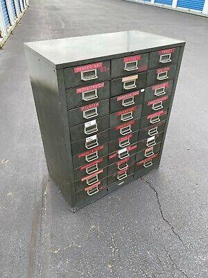Vinatge Cole 27 Drawer Unit Metal Parts Cabinet 38 Ht