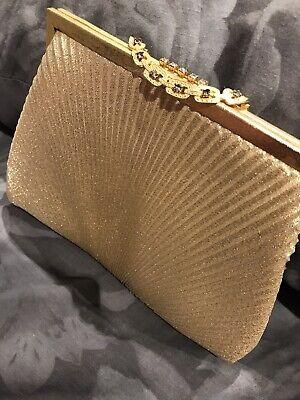 1950s Handbags, Purses, and Evening Bag Styles 1950s Vintage Gold Lurex Lame Evening Bag Purse Diamante Clasp Sunray Faux Chaon $9.24 AT vintagedancer.com