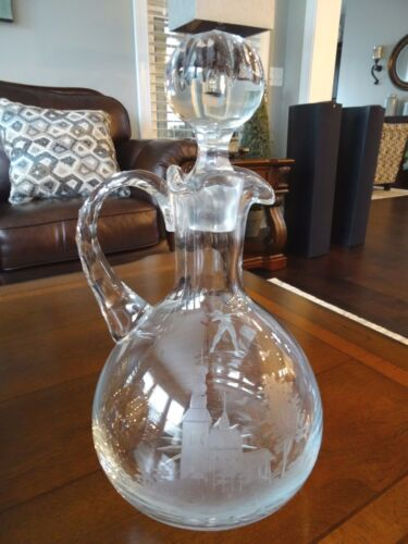 Rare Crystal ART Glass Etched DECANTER PITCHER Diana Female ARCHER Signed KAM