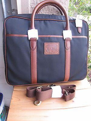 NWT - Ralph Lauren NAVY BLUE  Commuter  Briefcase/Messenger Bag  CANVA/  LEATHER