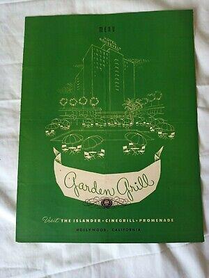 Vtg 1953 Garden Grill MENU HOTEL ROOSEVELT Hollywood CA