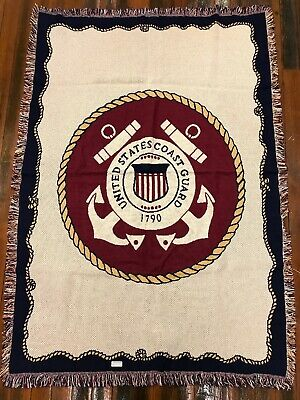 Coast Guard Afghan - United States Coast Guard 1790 Official Seal Logo Woven Afghan Throw Blanket NEW