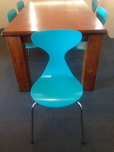 Solid wood six seater dining table and 2 x freedom jupiter chairs Neutral Bay North Sydney Area Preview