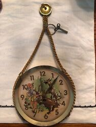 ANTIQUE GERMAN LITTLE RED RIDING HOOD WOLF ANIMATED WALL CLOCK GEBR. STAIGER