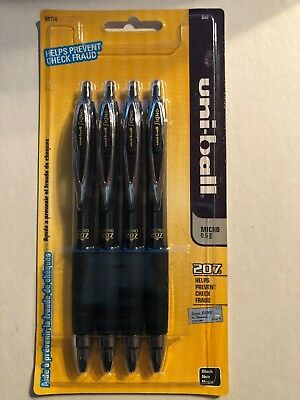 Uni-ball Signo 207 Retractable Gel Ink Pen 0.5 Mm Micro Point Black Ink 4 Pack