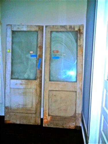 VINTAGE  DOOR CINEMA THEATER   INDUSTRIAL WOOD DOUBLE DOOR  W/ GLASS