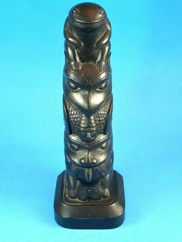 Haida Totem Pole, Frog, Eagle, Black Resin, Replica of Argillite by Boma Canada.