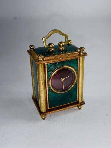 Vintage Guilloche Enamel Swiss Made Miniature Clock