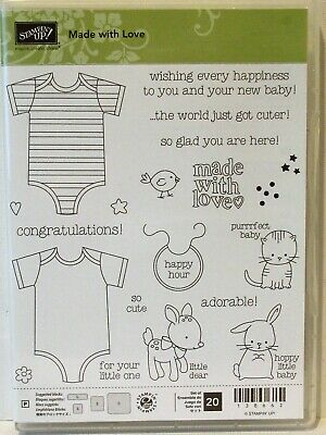 Stampin Up MADE WITH LOVE photopolymer stamps NEW Baby onsie kitty bunny
