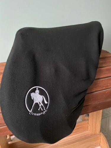 English Dressage Saddle Fleece Protector Cover Black, Embroidered
