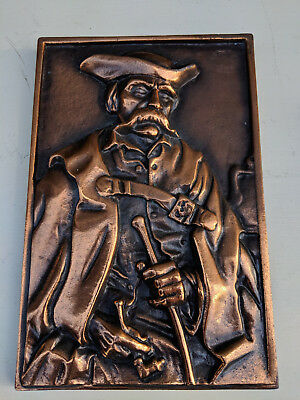 Coppered cast metal plaque 27x18cm male figure TC260718C