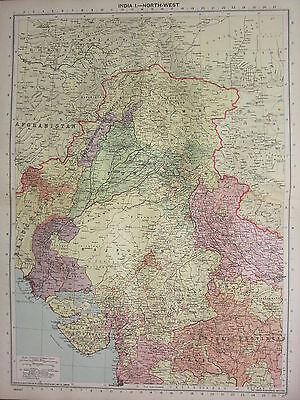 1940 MAP ~ INDIA NORTH WEST ~ KASHMIR RAJPUTANA SIND PUNJAB