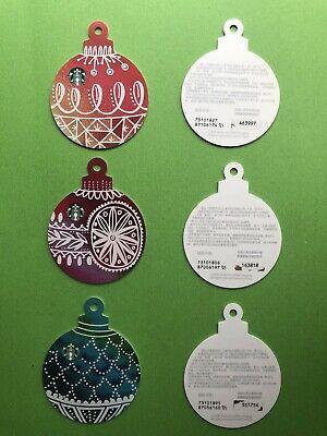 CS1894 2018 China Starbucks Christmas tree ornament gift cards 3pcs pin opened ()