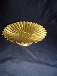 indian large brass foot plate bowl