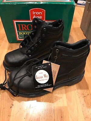 IRON AGE MEN'S WORK SHOES BOOTS STEEL TOE 11M NEW MELTED SOLES See Description
