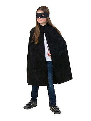 Umhang für Kinder mit Kragen Schwarz Kostüm Halloween Fasching ()