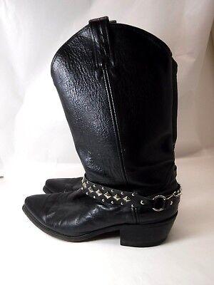 Vtg Men's Black Leather Rocker biker Cowboy Western Boots Sz 10 made in USA rare