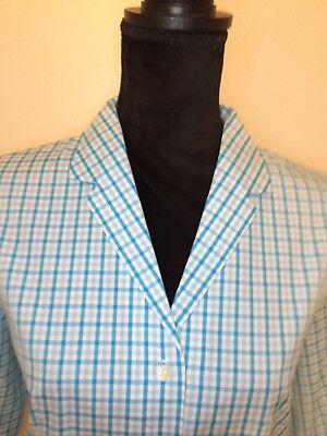 Talbots Aqua White Cotton Cropped Pants Capris Button Front Shirt Top Set Size (Button Front Top & Cropped Pants)