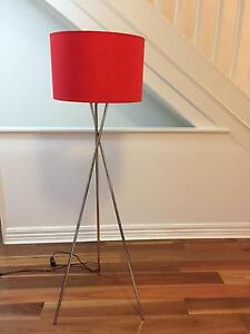 Striking red floor lamp, stainless steel legs Waverton North Sydney Area Preview