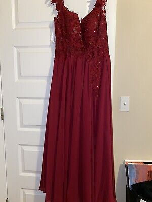 Red Lace Prom Dress Size 10