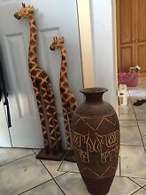 Home decor- giraffes and heavy decorated pot. Bali style. Belmont Lake Macquarie Area Preview