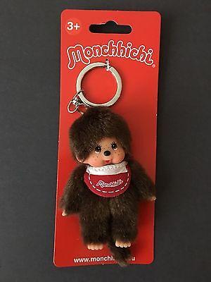 "Sekiguchi Classic Monchhichi 4"" Boy plush with Red Bib Keychain NEW w/ tag RARE"