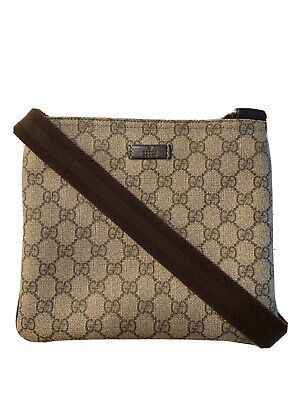 GUCCI Canvas Crossbody Bag GG Brown