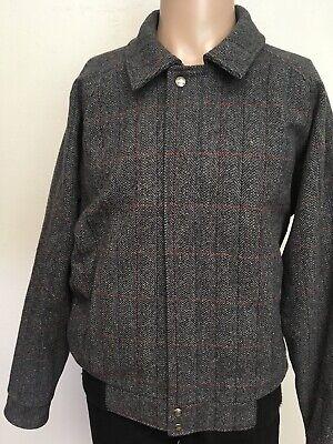 Herringbone Jacket Charcoal (VTG 80s WOOLRICH HERRINGBONE PLAID RAGLAN WOOL BOMBER JACKET Charcoal USA MADE L)