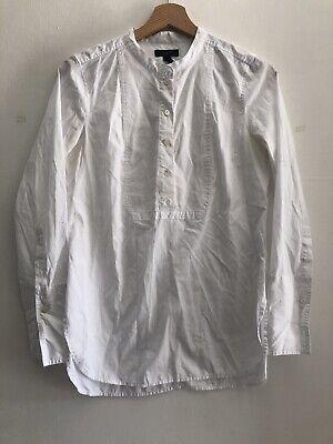 J.CREW Ladies White Long Sleeved Collarless Shirt Size 2